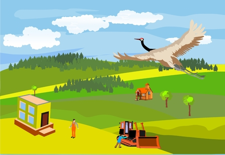 rural road: Vector illustration of countryside, houses, people, and flying crane above. Illustration