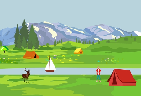Summer cump in the alpen valley vector illustration