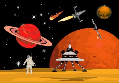 On the allien planet vector illustration Ilustração