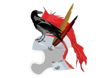 Warriors helmet and Raven sitting on it, vector illustration Illustration