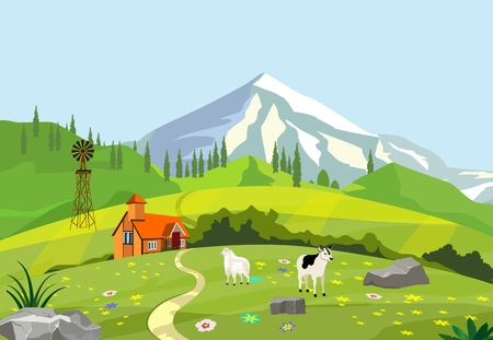 Farm located in green hills in mountains vector illustration Illustration