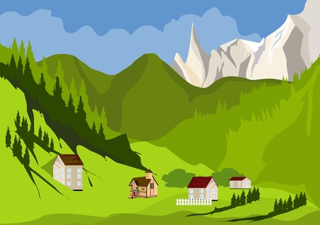 A green valley and a village in mountains vector illustration