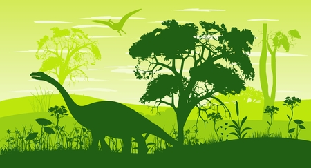 Prehistoric vector landscape, forest and dinosaurs silhouettes Illustration