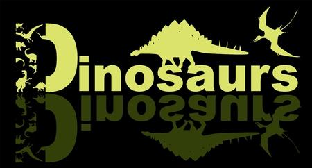 Logo design of word dinosaurs vector