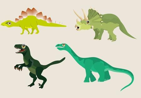 Vector cartoon characters of dinosaurs illustration