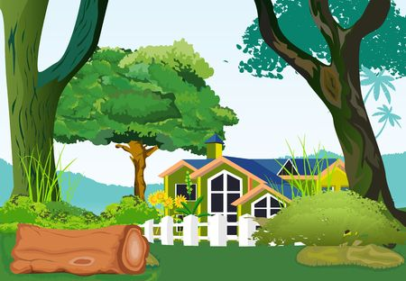 House in the village vector illustration.