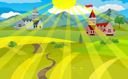 カントリー サイド ビュー。緑の丘、山々 や城、落ちてくる太陽の光線。村のベクトル図に夏の時間。