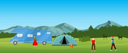 Camping in the nature, natural landscape Illustration