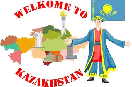 Kazakh nationality man in traditional dress Çizim
