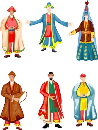 Set of vector characters in national kazakhs dress Ilustrace
