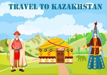 Viaje a la ilustración de vector de concepto de Kazajstán, hombre y mujer en traje tradicional Ilustración de vector