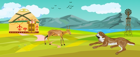 Dog lying, antelope saiga, kazakhstan countryside view, vector illustration