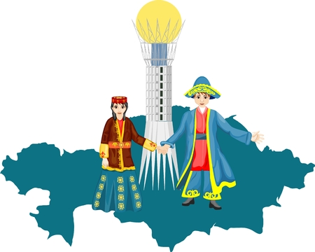 Boy and Girl in national kazakh ethnic dress, map of Kazakhstan