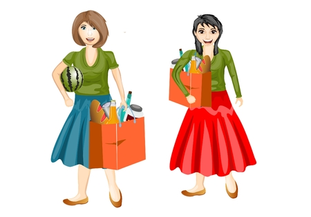 Smiling women with trunks, vector isolated illustration