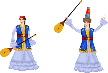 2 girls in national kazakhs dress, isolated vector illustration