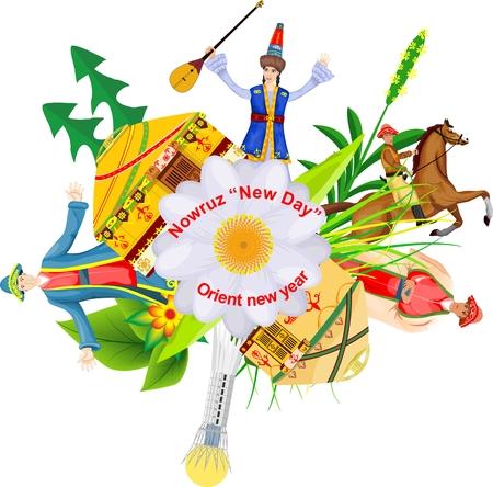 Un'illustrazione di concetto di vettore del fest di nauruz della molla orientale nel Kazakistan Archivio Fotografico - 88314583