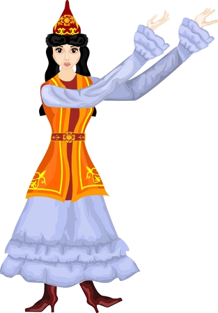 Kazakh girl in traditional ethnic dress, vector illustration Illustration