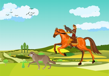 Eagle hunter nomad kazakh at the hunting, eagle hunting scene, man on horse, dog, vector illustration