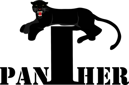 Design of black panther lying on the word, vector illustration