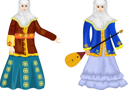 Two kazakh women in traditional national dress, vector illustration