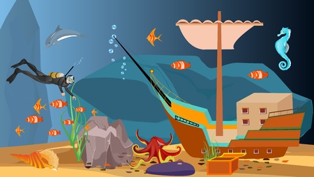 Underwater scene diver and sunken ship with treasure, vector.