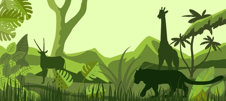 African savannah with inhabitants, vector silhouettes, giraffe, lion, antilope