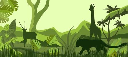 African savannah with inhabitants, vector silhouettes, giraffe, lion, antilope