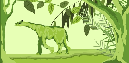 Prehistoric beast Indricoteri, in the forest, vector illustration
