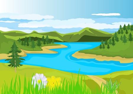 River at hills landscape illustration.