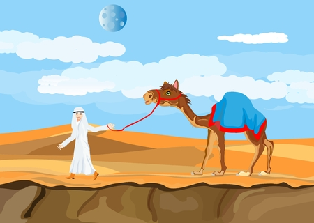 Arab man character with camel walking on desert, vector illustration.