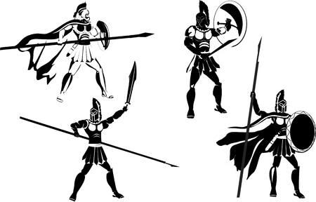 Vector set of monochrome colored ancient macedonian warriors. Characters with weapons in different poses