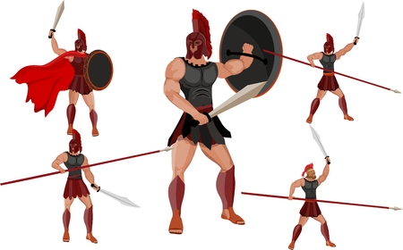 Ancient spartan warriors in different poses vector set