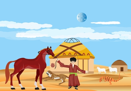 Turkmenistan country travell and tourism consept, boy and horse, turkmenistan landscape vector. Illustration