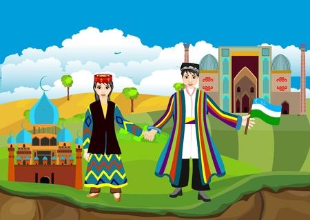 Usbekistan-Landreisekonzept, lustiger Karikaturjunge und Mädchen im traditionellen usbekischen Kleid, Vektor.