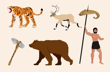 Stone age man and ice age animals, vector set