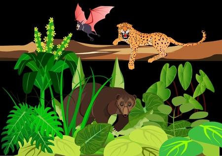 Wild animals in a wildlife theme illustration.