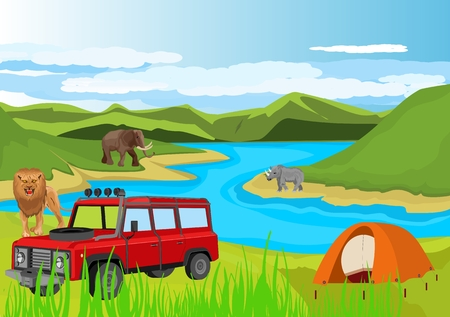 Off road vehicle and camp in outdoor of African landscape. Lion, elephant other African animals. Illustration