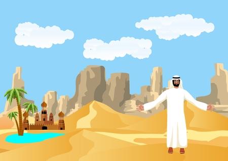 Arabian man in traditional clothes, oasis, tourism, travel, desert landscape, vector illustration. Çizim