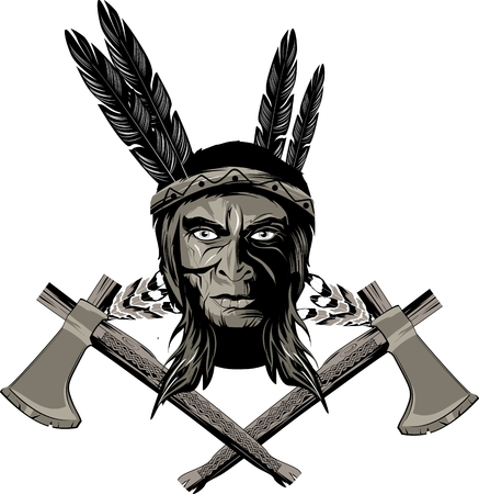 American Native Indian Warrior Logo Tattoo Design Royalty Free