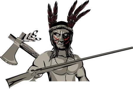 American native indian warrior with rifle and tomahwk