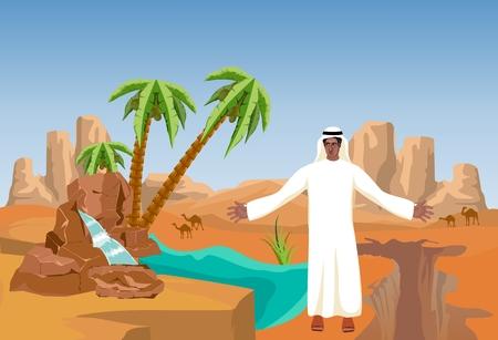 Desert landscape with sand dunes, desert oasis, palms, arabian man, vector landscape, arabian lands theme.