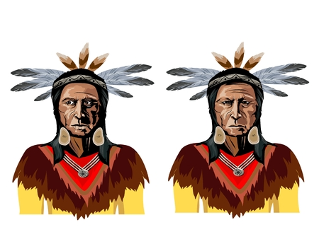 Vector portraits of two native american chiefs, men in natioanl traditional clothes, isolated on white illustration