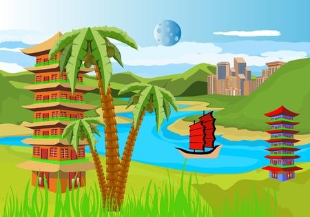 South east Asian countries landscape like china, Vietnam, Japan, Korea with pagoda, jungle, countryside, travel, tourism. Illusztráció