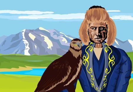 Nomad kazakh man with eagle. eagle hunting, tradition of kazakh nomads of central asia. Vector illustration.