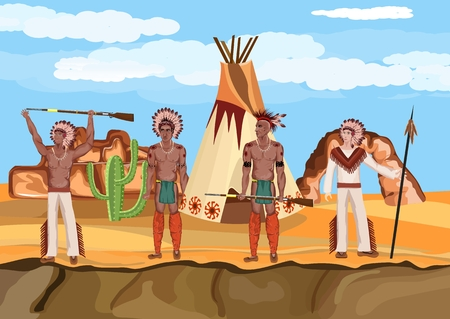 Native american warriors stand in prairie, vector landscape, vector people. Native american indains theme. Illustration