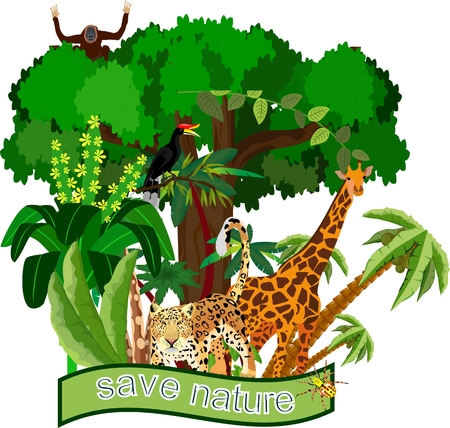 Save nature and wildlife theme with exotic animals and plants behind the banner