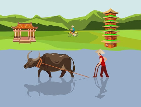 Chinese farm vector landscape, pagodas, vector countryside Asian background, peasants sowing rice. Illustration