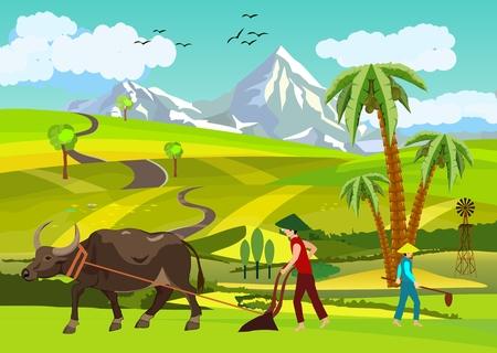Paisagem de vetor fazenda asiática chinesa, vetor paisagem backgound asiático, camponeses arando a terra