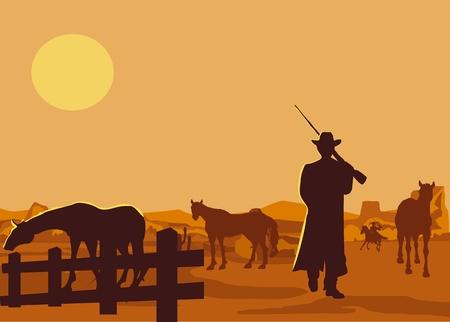 Cowboys silhouette on the rancho,  horses silhouette wild west concept vector illustration, vector desert landscape