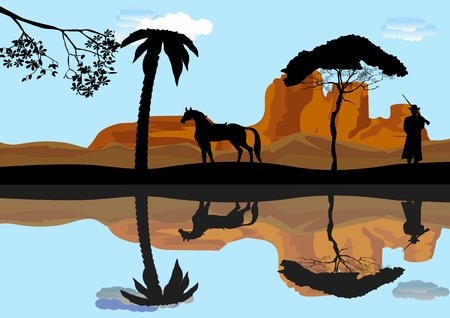 Silhouettes of cowboy, horse and trees on the riverbank mirrored on water, vector illustration